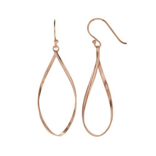 14k Rose Gold Over Silver Twist Teardrop Earrings