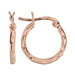 14k Rose Gold Over Silver Textured Hoop Earrings