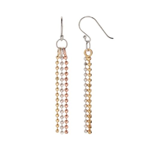 24k Gold Over Silver and Sterling Silver Tri-Tone Bead Chain Drop Earrings