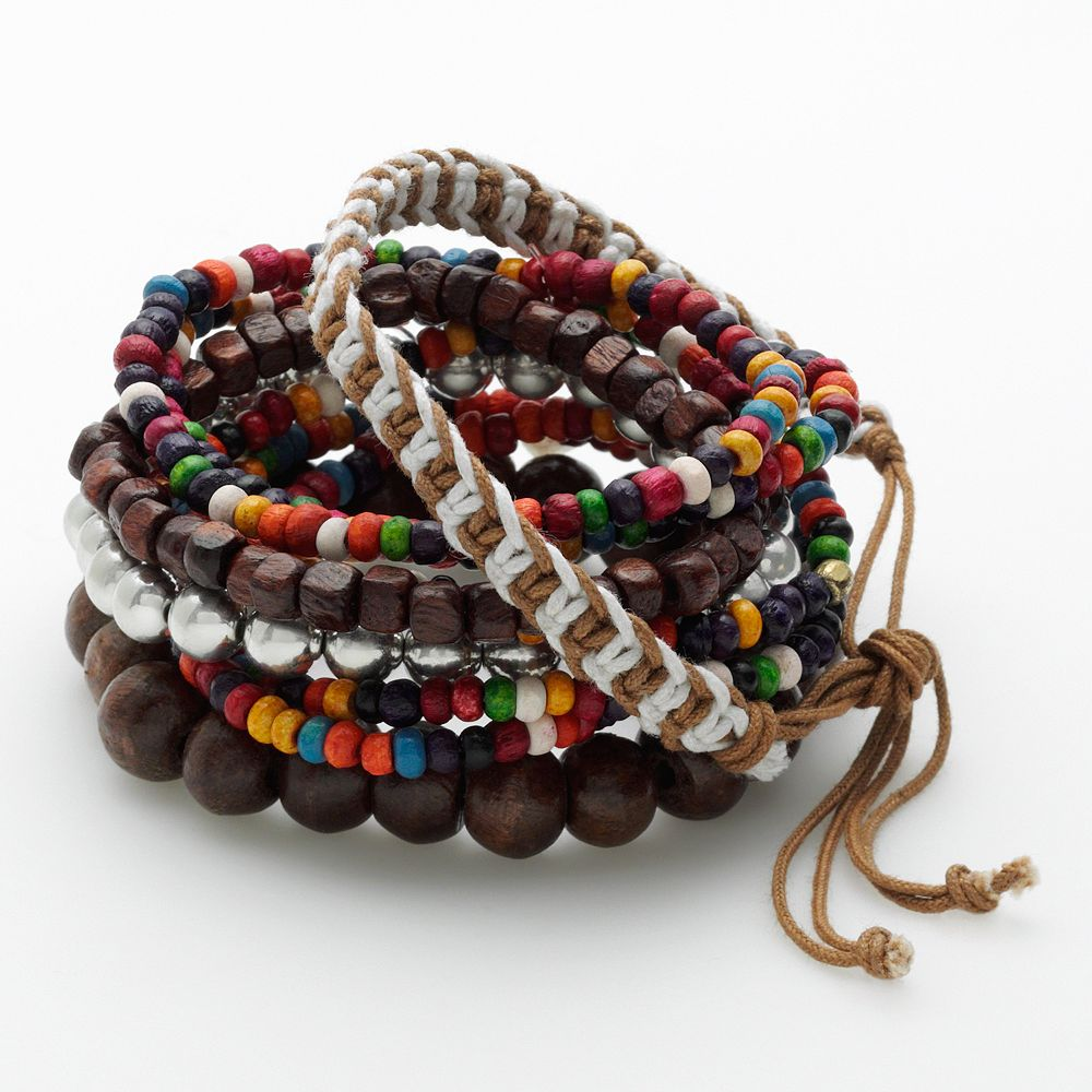 SO® Wood Bead & Woven Cord Stretch Bracelet Set