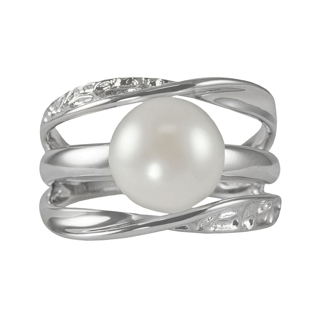 Sterling Silver Freshwater Cultured Pearl Galaxy Ring