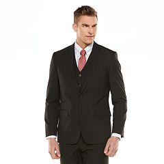 Men's Savile Row Modern-Fit Striped Black Suit Jacket
