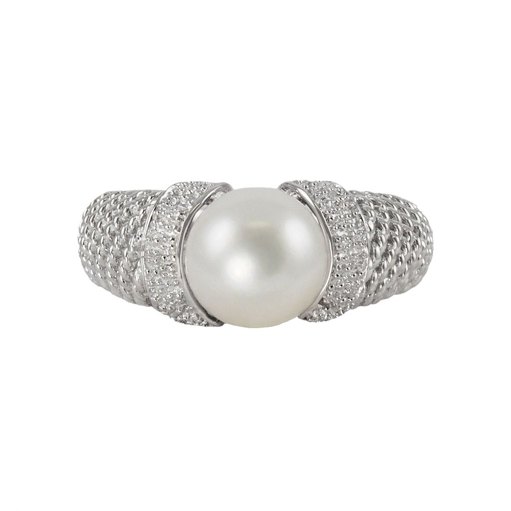 Sterling Silver Freshwater Cultured Pearl Textured Ring