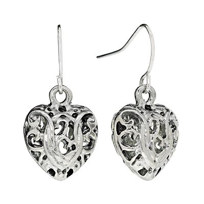 Croft and Barrow Silver Tone Filigree Heart Drop Earrings