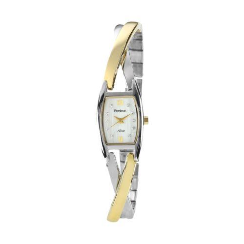 Armitron NOW Two Tone Crystal Crisscross Half-Bangle Watch - 75/3865SVTT - Women
