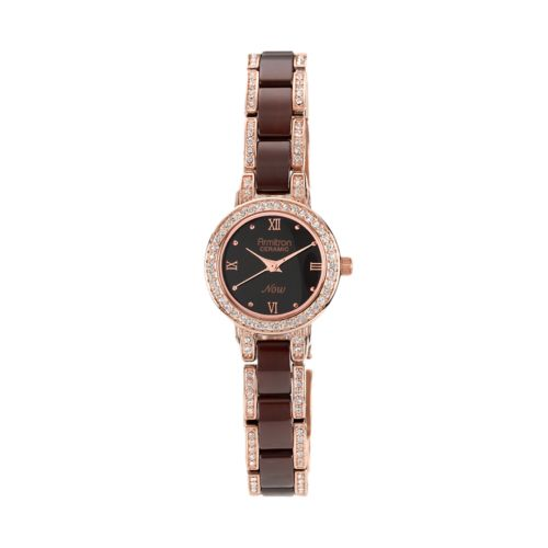 Armitron NOW Brown Ceramic and Rose Gold Tone Crystal Watch - 75/3919RGBN - Women