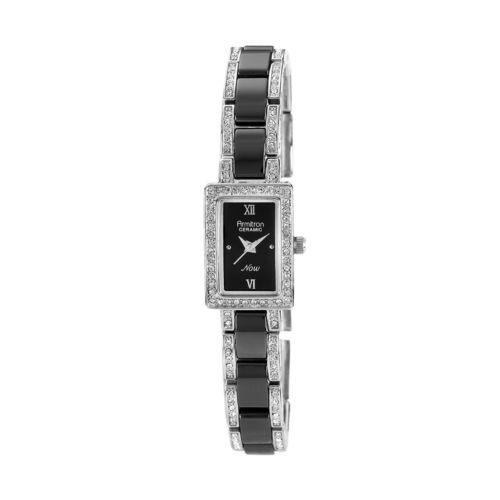 Armitron NOW Black Ceramic and Silver Tone Crystal Watch - 75/3955BKSV - Women