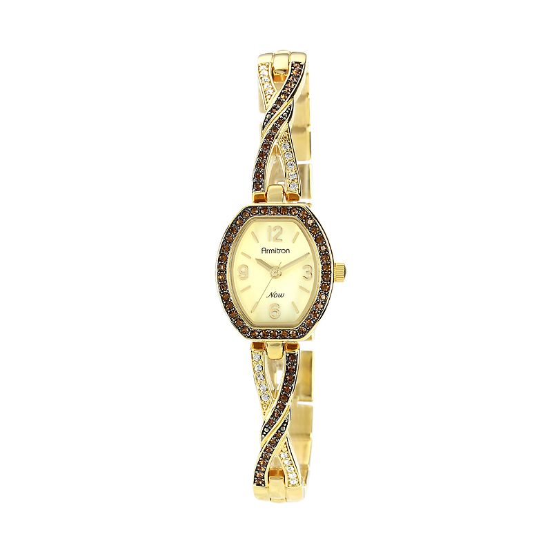 Armitron NOW Gold Tone Crystal and Mother-of-Pearl Crisscross Half-Bangle Watch - 75/4039CMGP - Women