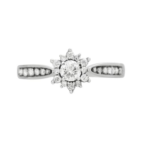 Cherish Always Diamond Starburst Engagement Ring in 10k White Gold (1/2 Carat T.W.)