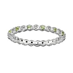 Stacks & Stones Sterling Silver Peridot & Diamond Accent Stack Ring