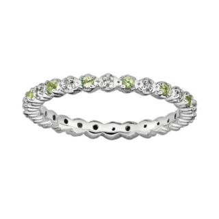Stacks and Stones Sterling Silver Peridot and Diamond Accent Stack Ring