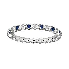 Stacks & Stones Sterling Silver Lab-Created Sapphire & Diamond Accent Stack Ring
