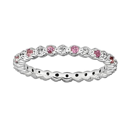 Stacks & Stones Sterling Silver Pink Tourmaline & Diamond Accent Stack Ring