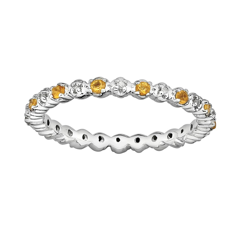 Stacks & Stones Sterling Silver Citrine & Diamond Accent Stack Ring