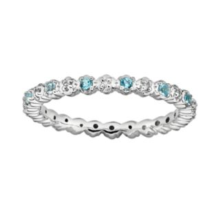 Stacks and Stones Sterling Silver Blue Topaz and Diamond Accent Stack Ring