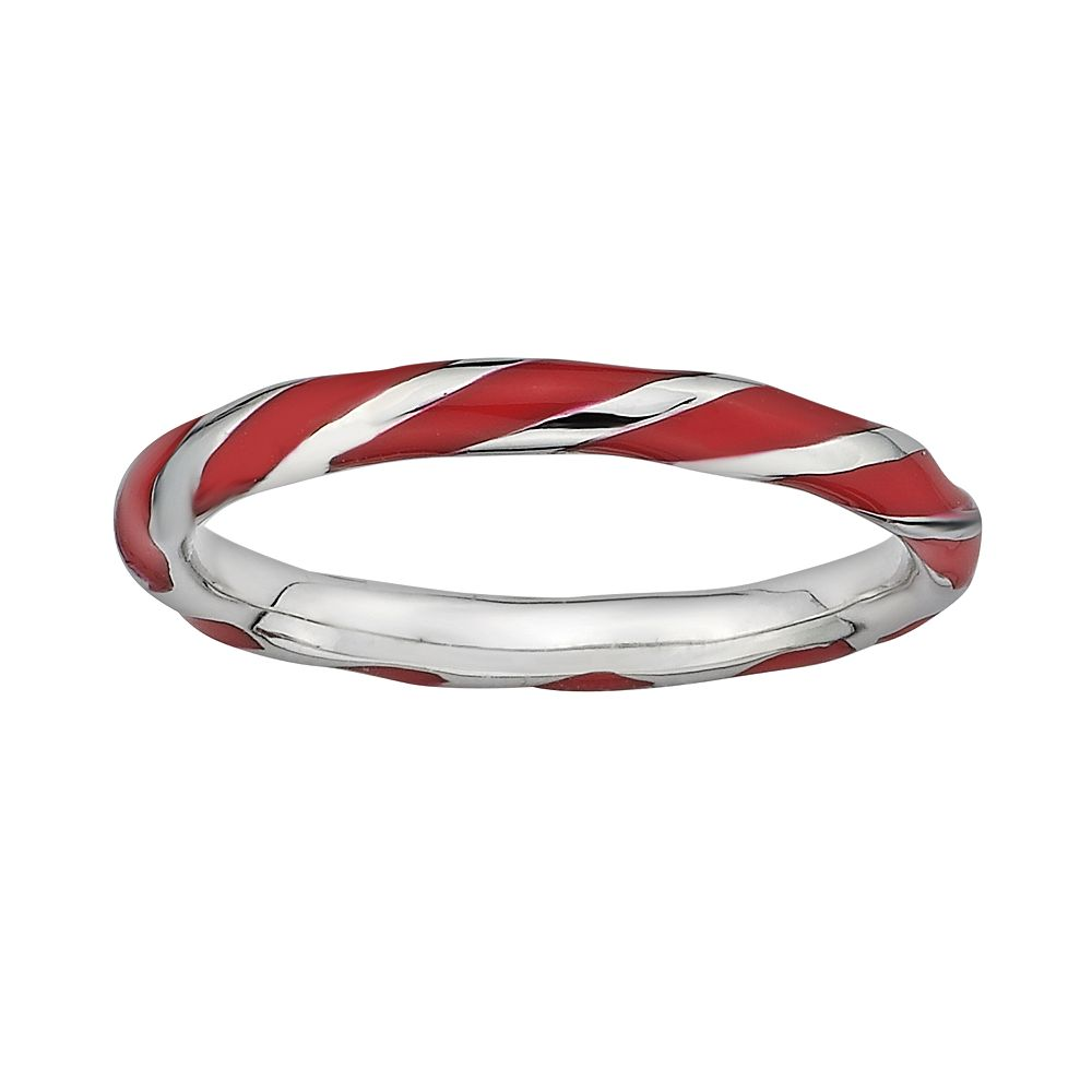 Stacks & Stones Sterling Silver Red Enamel Twist Stack Ring