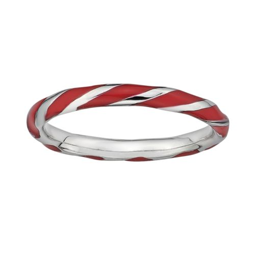 Stacks and Stones Sterling Silver Red Enamel Twist Stack Ring