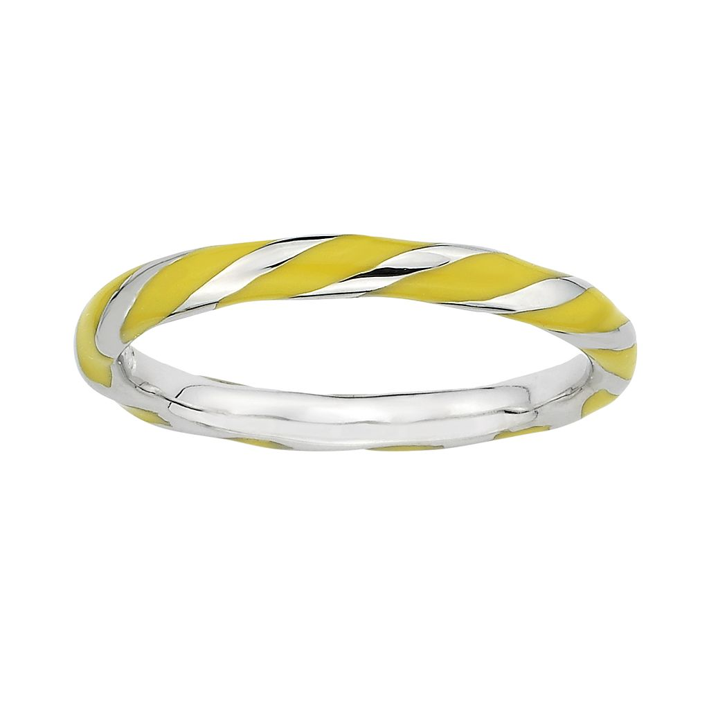 Stacks & Stones Sterling Silver Yellow Enamel Twist Stack Ring