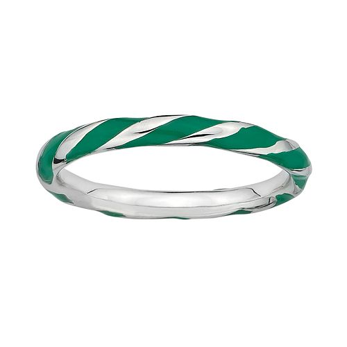 Stacks & Stones Sterling Silver Green Enamel Twist Stack Ring