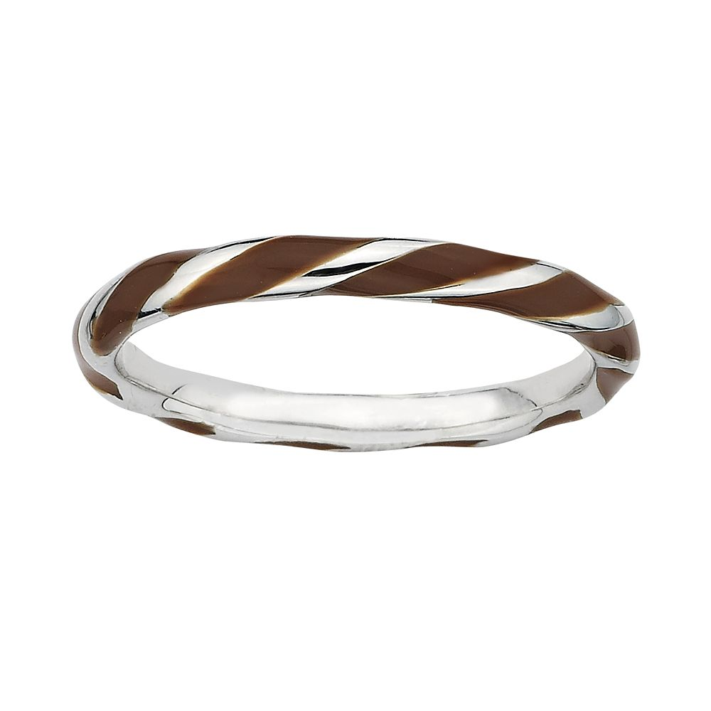 Stacks & Stones Sterling Silver Brown Enamel Twist Stack Ring