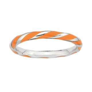 Stacks and Stones Sterling Silver Orange Enamel Twist Stack Ring
