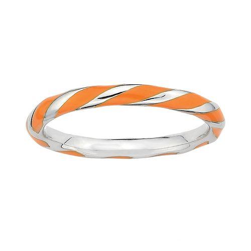 Stacks & Stones Sterling Silver Orange Enamel Twist Stack Ring
