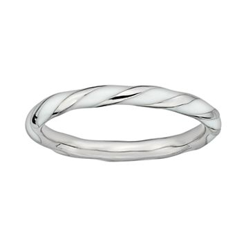 Stacks & Stones Sterling Silver White Enamel Twist Stack Ring