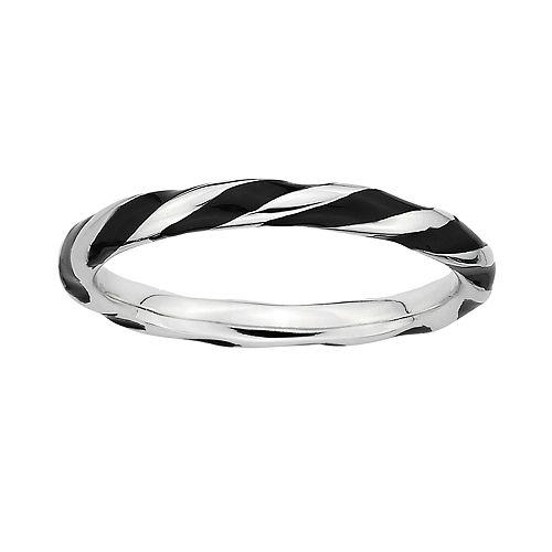 Stacks & Stones Sterling Silver Black Enamel Twist Stack Ring