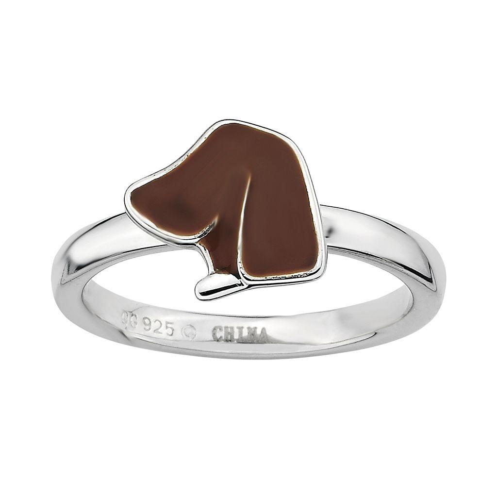 Stacks & Stones Sterling Silver Brown Enamel Dog Stack Ring