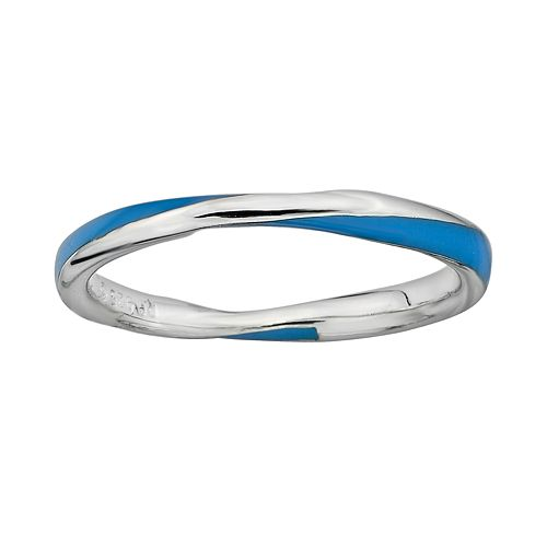 Stacks & Stones Sterling Silver Blue Enamel Twist Stack Ring