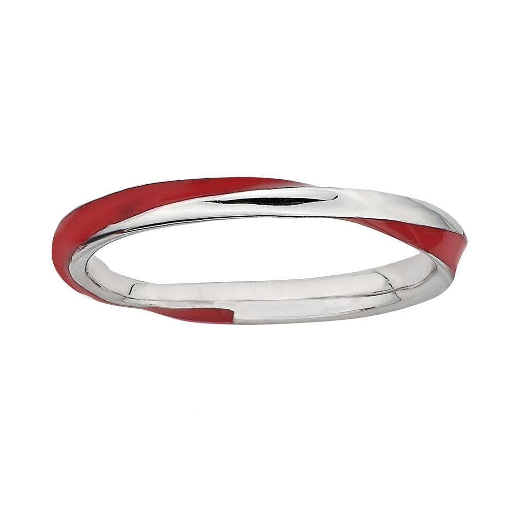 Stacks & Stones Sterling Silver Red Enamel Twist Stack Ring