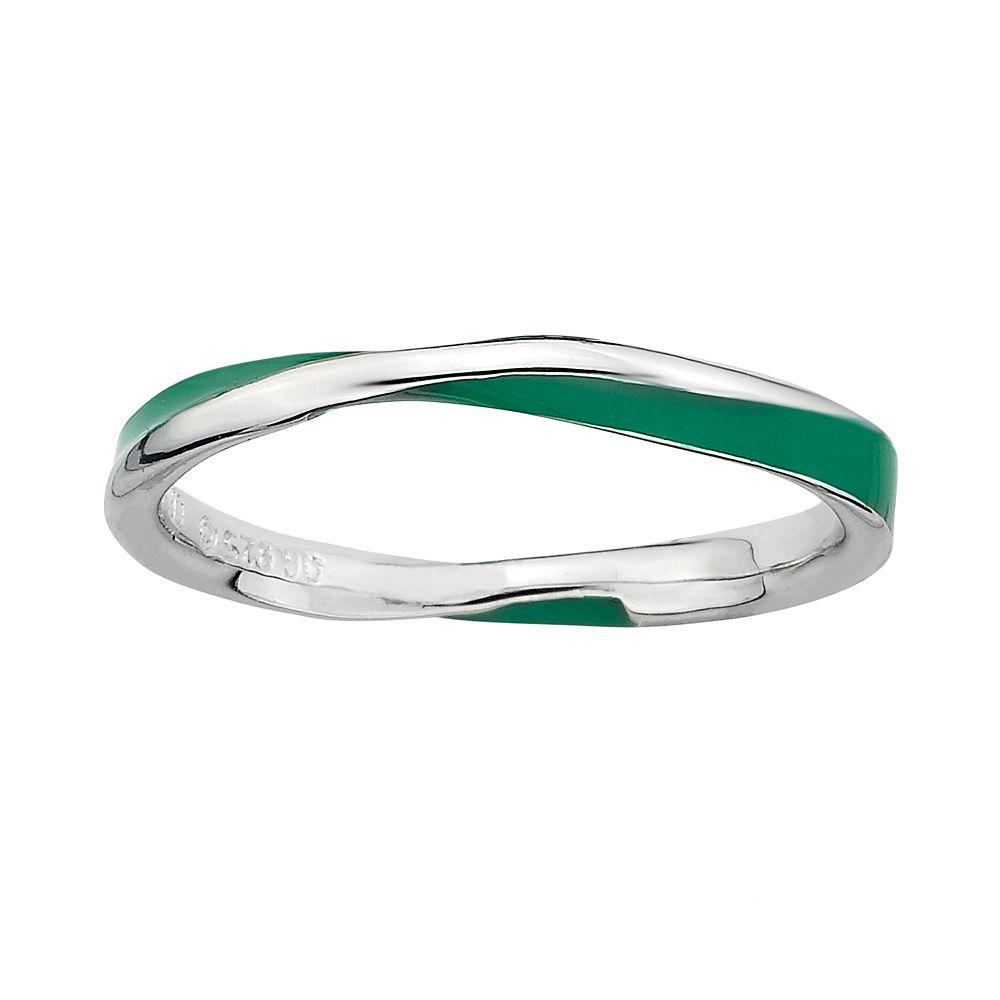 Stacks & Stones Sterling Silver Green Enamel Twist Stack Ring