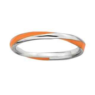 Stacks and Stones Sterling Silver Orange Enamel Twist Stack Ring