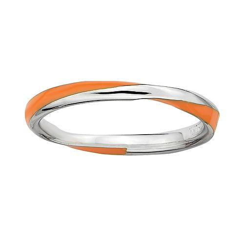 Stacks & Stones Sterling Silver Orange Enamel Twist Stack Ring