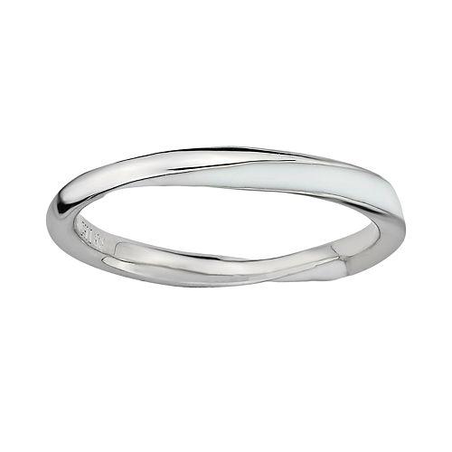 Stacks & Stones Sterling Silver White Enamel Twist Stack Ring