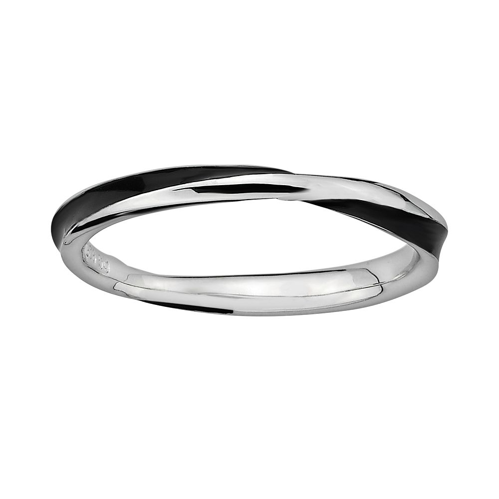 Stacks & Stones Sterling Silver Black Enamel Twist Stack Ring
