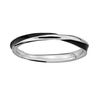 Stacks and Stones Sterling Silver Black Enamel Twist Stack Ring