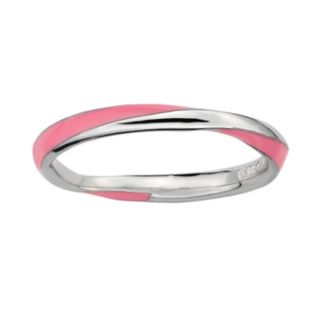 Stacks and Stones Sterling Silver Pink Enamel Twist Stack Ring