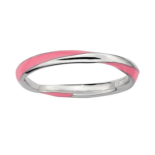 Stacks & Stones Sterling Silver Pink Enamel Twist Stack Ring