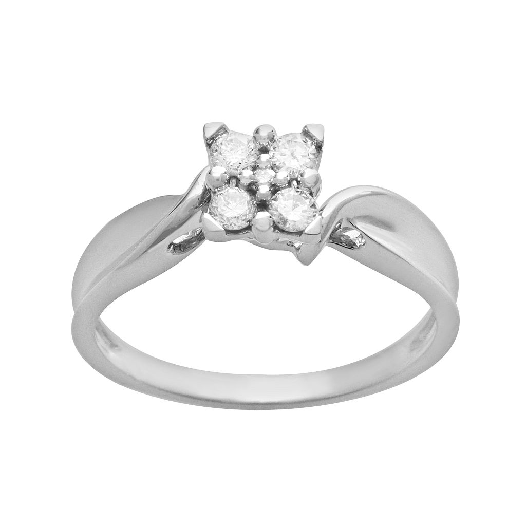 Cherish Always Round-Cut Diamond Square Cluster Engagement Ring in 10k White Gold (1/5 ct. T.W.)