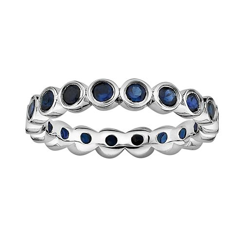 Stacks & Stones Sterling Silver Lab-Created Sapphire Eternity Stack Ring