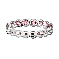 Stacks & Stones Sterling Silver Pink Tourmaline Eternity Stack Ring