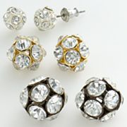daisy fuentes Tri-Tone Simulated Crystal Graduated Ball Stud Earring Set