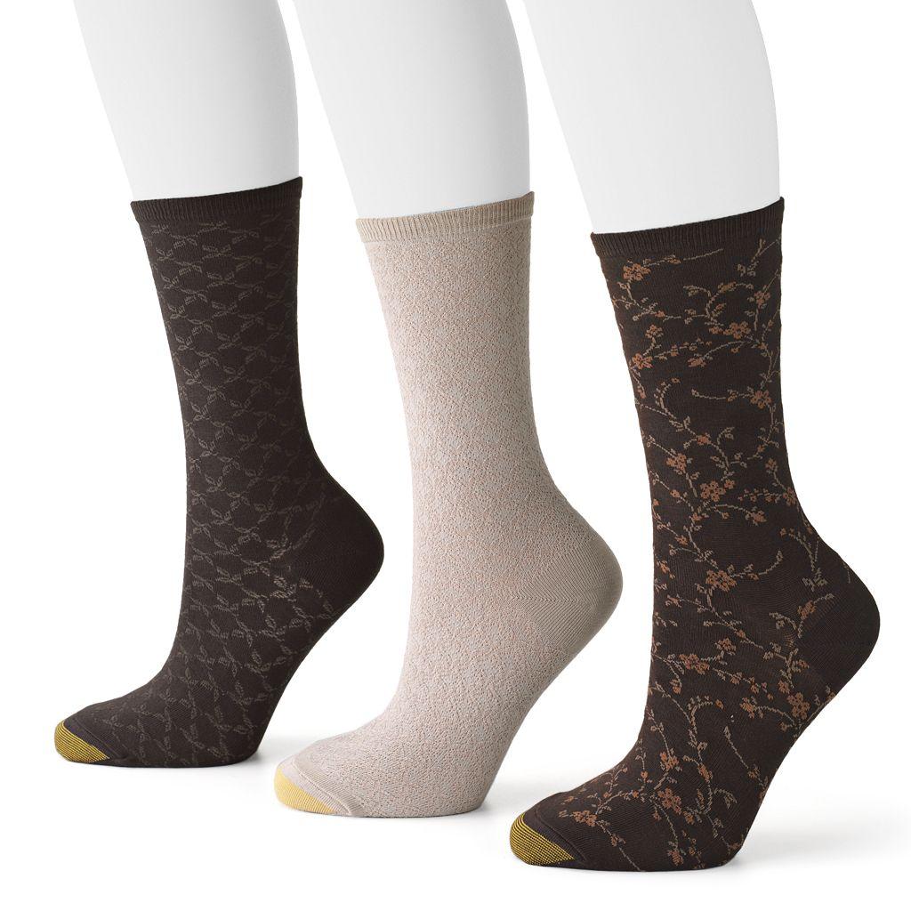 GOLDTOE 3-pk. Floral Scroll Crew Socks