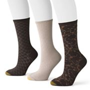 GOLDTOE 3 pkFloral Scroll Crew Socks