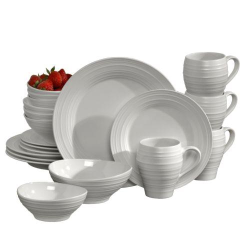Mikasa Swirl White 20 Pc Dinnerware Set