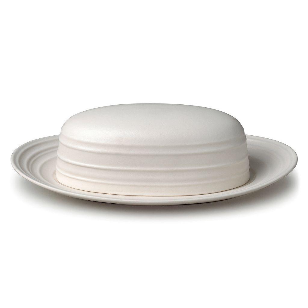 Mikasa Swirl White Covered Butter Dish