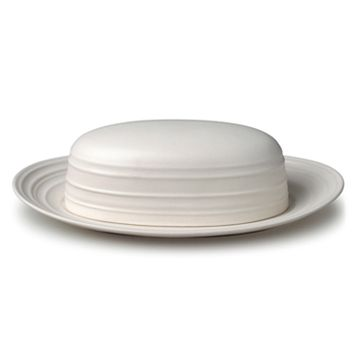 Mikasa Swirl White Covered Butter Dish