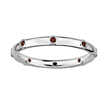 Stacks & Stones Sterling Silver Garnet Stack Ring