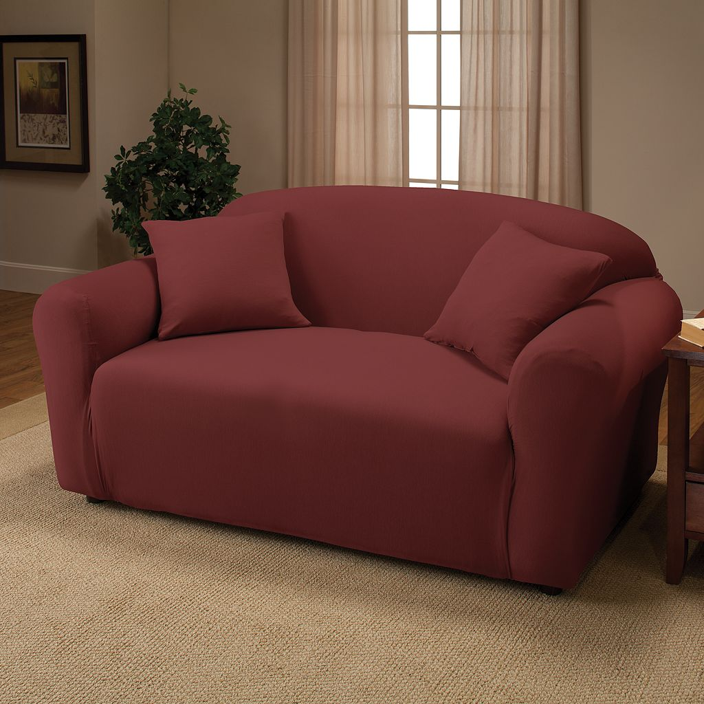 Jersey Stretch Loveseat Slipcover With Pillow